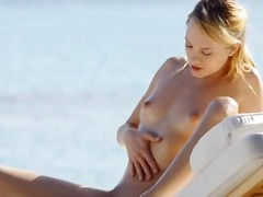 outdoors, pussy, blonde, rubbing, babe