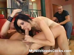 threesome, brunette, wife, reality, blowjob