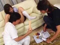 students, dildo, asian, mmf, 3some